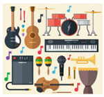 Clipart Image of a musical instrument collage