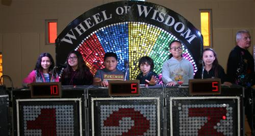 Photo of Johnson students playing the Wheel of Wisdom travelling game show.