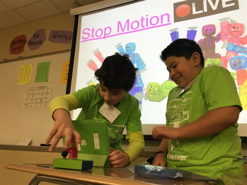 BSD2 students sharing a stop motion animation presentation at the 2018 SIT Conference.