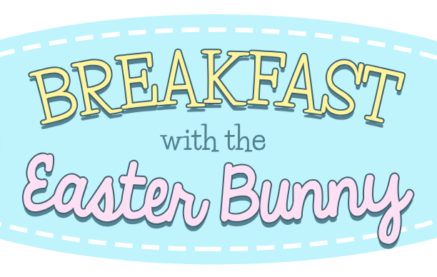 Clipart image of an Easter Egg with the words Breakfast with the Easter Bunny
