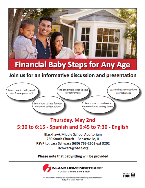 Image of Inland Home Mortgage financial workshop for families flyer