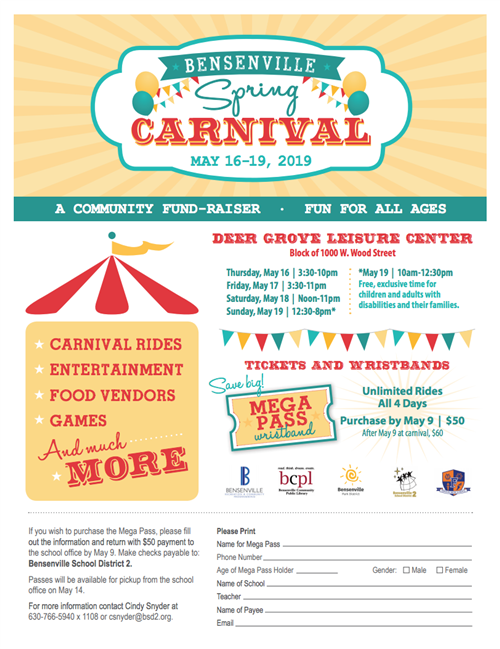Image of the Bensenville Spring Carnival flyer