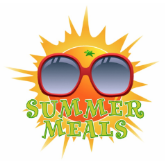 Clipart image of a smiling sun with the words summer meals