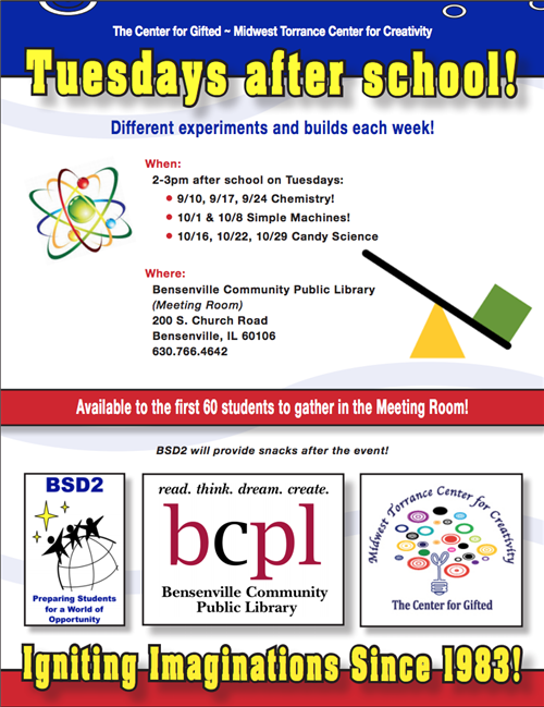 Image of the Center for the Gifted BMS STEM Activities flyer - info on flyer is repeated in the story