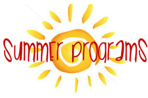 Clipart image of a sun with the words summer programs